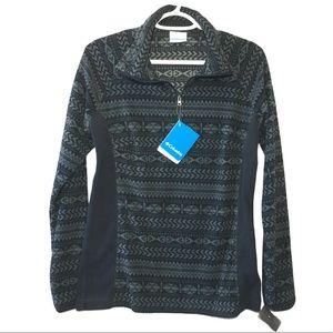 NWT Columbia 1/4 Zip Black Gray Fleece Pullover M
